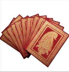 Purpledip Paper Card-Envelope Pack (Set of 10) 'Royal Insignia': Handmade Organic Paper Cards 5*3 inches for Personalized Greetings (11457)