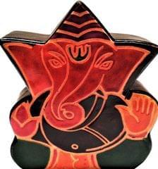 Leather Money Bank Coin Box 'Great Ganesha': Cruelty Free Shantiniketan Leather Piggy Bank (11556)