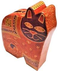 Leather Money Bank Coin Box 'Jungle Cat': Cruelty Free Shantiniketan Leather Piggy Bank (11557)