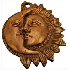 Brass Wall Hanging 'Celestial Yin-Yang': Sun-Moon Decor Statue (11561)