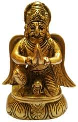 Brass Statue Garuda (Tarkshya or�Vynateya): King of Birds & Mount of Lord Vishnu (11574)