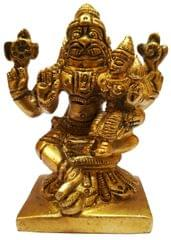 Brass Idol Narasimha Lakshmi: Vishnu Laxmi Statue for Home Temple (11581)