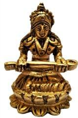 Brass Statue Devi Annapoorna: Hindu Goddess of Food & Nourishment (11583)
