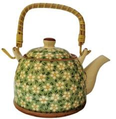 Ceramic Kettle 'Spring Bouquet': 500 ml Tea Coffee Pot, Steel Strainer Included (11623)