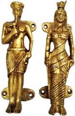 Brass Door/Window/Cupboard Handle Set : 'Egyptian Royalty' (11637)