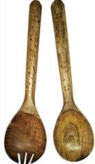 Purpledip Wooden Serving Spoon & Fork Set 'Bird Walk': Handmade Vintage Tableware or Kitchen Decorative Accent (11631)