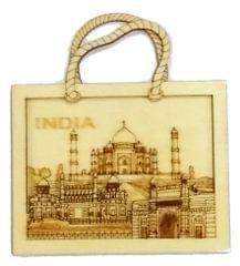 Purpledip Wooden Fridge Magnet: Taj Mahal, Indian Souvenir Gift (11666)