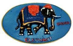Purpledip Stone Fridge Magnet:  Colorful Elephant, Indian Souvenir Gift (11668)