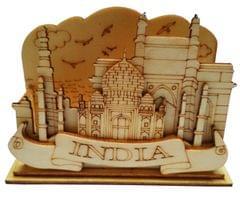 Purpledip Wooden Visiting Cards Holder: Taj Mahal (11670)