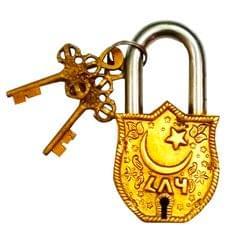 Purpledip Brass Padlock: Bismillah al-Rahman al-Rahim (11701)