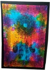 Purpledip Cotton Wall Poster Beach Throw 'Dreamcatcher': Bohemian Wall Hanging Tapestry (20028)