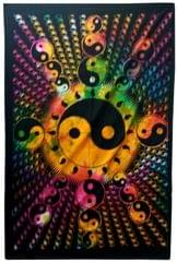 Purpledip Cotton Wall Poster Beach Throw 'Yin-Yang, The Universal Harmony': Bohemian Wall Hanging Tapestry (20030)