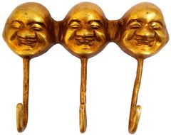 Purpledip Brass Wall Hook 'Three Laughing Buddhas': Vintage Design Coat Clothes Hanger (11736)