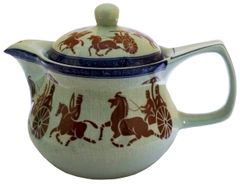 Purpledip Painted Ceramic Kettle 'Royal Army': Small 350 ml Tea Coffee Pot, Steel Strainer Included (11611)