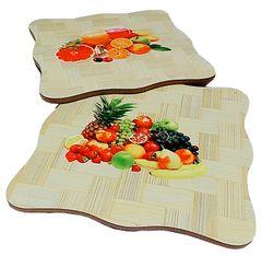 Purpledip Bamboo Heat Pads: Set of 2 Designer Coaster Mats (11712)