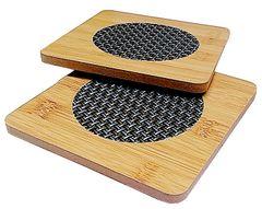 Purpledip Bamboo Heat Pads: Set of 2 Square Hot Mats or Coasters (11713)