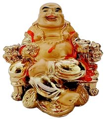 Purpledip Resin Statue Laughing Buddha: Good Luck Symbol for Wealth and Prosperity; Home Decor Showpiece for Feng-Shui (11717)