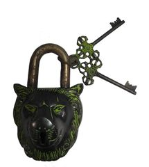 Purpledip Lion Shaped Brass Lock Antique Finish Handcrafted Locks for Security (10004a)