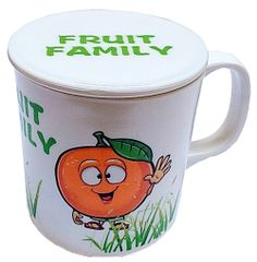 Purpledip Children's Mug with Lid Cover: for Kids in Plastic Fun with Fruits (10723h)�
