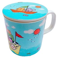 Purpledip Children's Mug With Lid Cover: For Kids In High Quality Plastic Happy Animals (10723b)