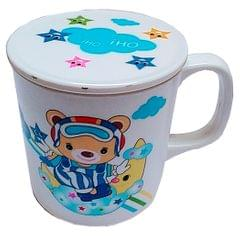 Purpledip Children's Mug With Lid Cover: For Kids In High Quality Plastic Cute Teddy (10723d)