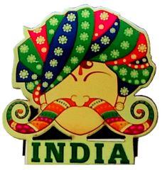 Purpledip Wooden Fridge Magnet: Indian Turban (11750)