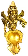 Purpledip Brass Garuda Aarti: Rare Collection Vishnu Vahana Varadaraja Perumal Oil Lamp Diya (11754)