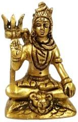 Purpledip Brass Idol Shiva Mahadev: Small Statue for Home, Temple or Car Dashboard (11755)