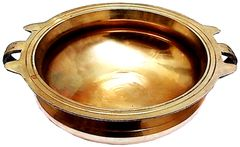 Purpledip Brass Urli (Uruli, Varpu): Vintage Design Water Bowl for Candles or Flowers (11760)