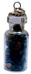 Purpledip Lapis Lazuli Bottle Pendant: Reiki Energized Natural Crystals, Good Luck Healing Charm (11765)