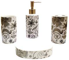 Purpledip Ceramic Bathroom 4-piece Set 'Orient Grace': Soap Dish, Liquid Dispenser, Glass, Toothbrush Holder (11777)