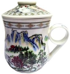 Purpledip Porcelain Oriental Tea Cup, Infuser & Lid 'Mountain Mist' (11799A)