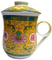 Purpledip Porcelain Oriental Tea Cup, Infuser & Lid 'Sacred Flower' (11799B)