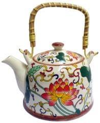 Purpledip Ceramic Kettle 'Spring Garden': 850 ml Tea Coffee Pot, Steel Strainer Included (11617A)