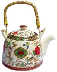 Purpledip Ceramic Kettle 'Nature Forest': 850 ml Tea Coffee Pot, Steel Strainer Included (10145A)