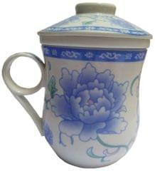 Purpledip Porcelain Oriental Tea Cup, Infuser & Lid 'Forest Bloom' (11799)