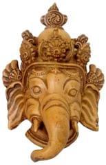 Purpledip Resin Idol Krodhit Ganesha: Dakshin Murti Angry Ganapathi Wall Hanging Stone Finish Mask (11800)