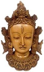 Purpledip Resin Idol Buddhist Goddess Tara: Wall Hanging Stone Finish Mask (11801)