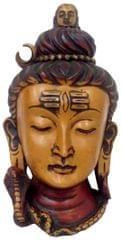 Purpledip Resin Idol Lord Siva (Mahadev Shiva): Wall Hanging Stone Finish Mask (11802)