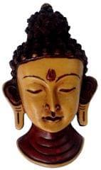 Purpledip Resin Idol Lord Buddha: Wall Hanging Stone Finish Mask (11803)