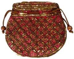 Purpledip Potli Bag (Clutch, Drawstring Purse): Intricate Gold Thread & Sequin Embroidery Satchel, Pink (11804)�