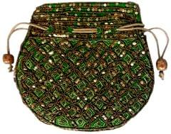 Purpledip Potli Bag (Clutch, Drawstring Purse): Intricate Gold Thread & Sequin Embroidery Satchel, Green (11805)�