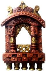 Purpledip Wooden Wall Hanging 'Jharokha - Royal Palace Window': Vintage Showpiece, Copper (11808)