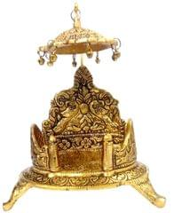 Purpledip Metal Singhasan (Gold Throne Chowki with Canopy): Platform for Temple Idols (11838)
