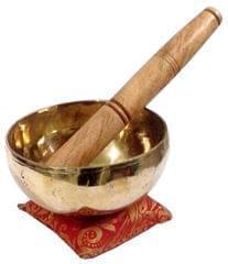 Purpledip Bronze Singing Bowl: Handmade Bell Metal (Kansa) Meditation Instrument with Stick & Cushion (10782A)