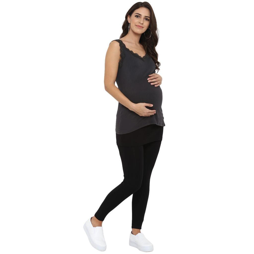 Maternity Track Pants / Slacks Skirt Style Black