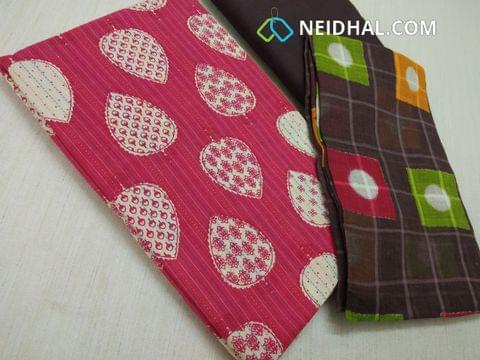 Pink Block printed unstitched salwar material(requires lining) with stitch work on both sides, Brown drum dyed cotton bottom, Block printed Cotton bottom(requries taping)