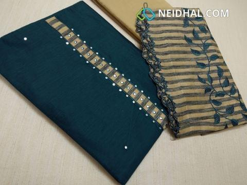 Blue Silk Cotton unstitched salwar material(requires lining) with faux mirror work on yoke, daman patch, Beige cotton bottom, Silk cotton dupatta with emrboidery work and embroidery tapings.