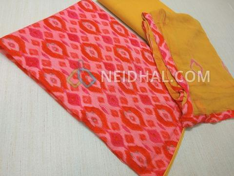 Printed Multicolor Modal Fabric(flowy fabric) unstitched salwar material(requires lining) , Yellow cotton bottom, Printed Yellow chiffon dupatta with taping