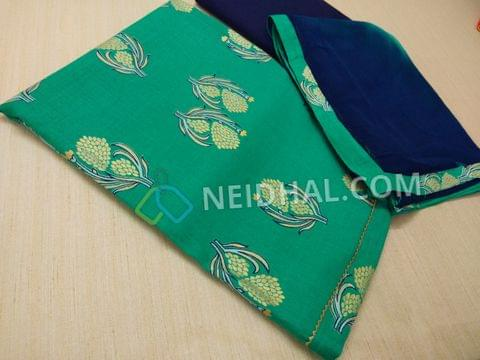 Golden Printed Green Liquid fabric(flowy fabric) blue cotton bottom, multi color chiffon duaptta with taping